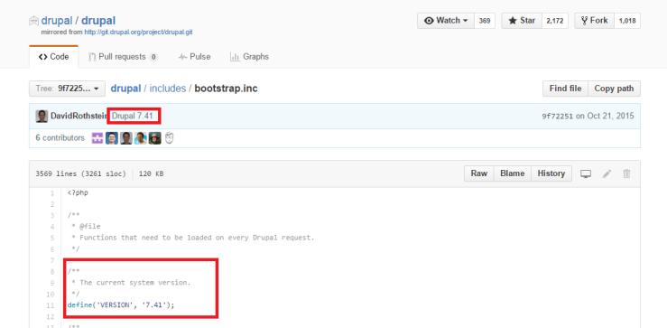 Drupal 7.41 as determined using git-version